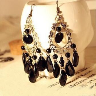Nice-Fashion-Jewelry-Boho-Earrings-Peacock-Feather-Shape-Biag-Stone-Long-Earrings-AE187