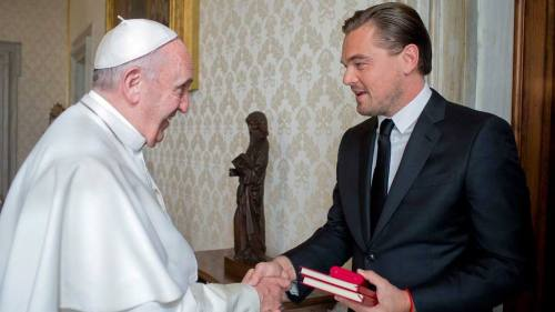 Pope Francis meets with actor Leonardo Di Caprio during a private audience in the pontiff's private studio, at the Vatican, Thursday, Jan. 28, 2016. (L'Osservatore Romano/Pool Photo via AP) Vatican Pope Di Caprio