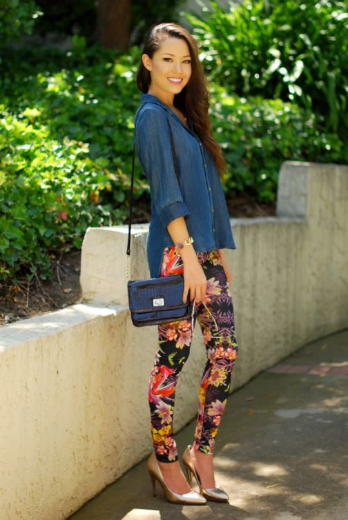 3-floral-print-pants-with-chambray-shirt