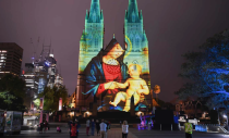 Sydney, Australia A projected image of the Madonna and child is displayed on St Mary's Cathedral during the annual Lights of Christmas show